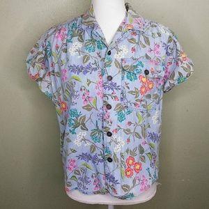 Vintage Lizwear Floral Print Chambray Shirt PL